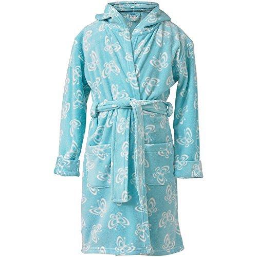 Insignia Mädchen Kinder Bademantel Fleece Robe gewickelt Bademantel Tiere weich mit Kapuze - Aqua Schmetterling, 11-12 (Gemütliche Fleece Robe)