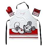Das Geschenk für den Walt Disney Mickey Mouse Fan: Kochschürzenset mit Micky Maus Micki Schürze 100% Baumwolle