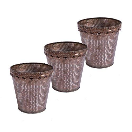 Lot de 3 pots de fleurs antique finition antirouille pot jardinière Zincpot métal finition cuivre jardinière zinc ou cuivre (zinc cuivre Ø 15 * H 15cm)