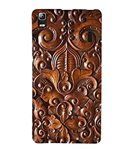 printtech Wood Carving Design Back Case Cover for Lenovo A7000