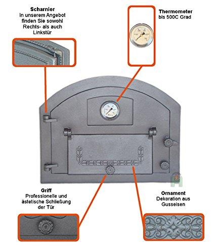 Backofentür Ofentür Pizzaofentür Holzbackofentür Steinbackofentür aus Gusseisen mit Thermometer | Außenmaße: 610×480 mm | Öffnungsrichtung: links