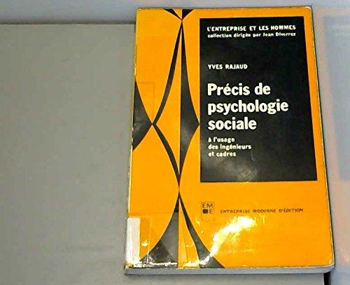 Précis de psychologie sociale à l'usage des ingénieurs et cadres