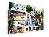 weewado Anton Chuiko - Hundertwasser Haus en Viena, Austria - 90x60 cm - Prima Impresiones sobre Lienzo - Muro de Arte - City Trip & Travel
