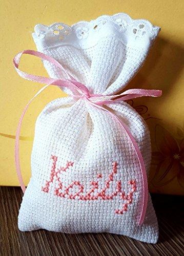 Crociedelizie, stock 50 sacchetti bomboniere portaconfetti ricamati punto croce nome bimbo bimba nascita battesimo