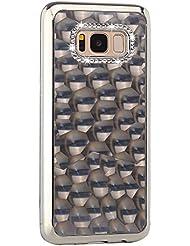 Paillette Coque pour LG G4,Silicone Housse Etui pour LG G4,Leeook Luxe Élégant Noble 3D Bling Brillant Diamant Strass Shining Placage Cadre Acrylique Caoutchouc Doux en Ultra Slim Coquille Souple Gel TPU Bumper Antichoc Coque Housse Protection Cover pour LG G4 + 1 X Noir Stylet-Argent