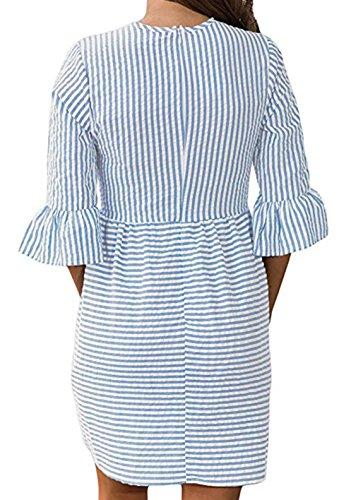 Donna Rotondo Collo Elegante Abiti a Righe Casuale Vestiti da Cerimonia Partito Dress Vestito Maniche 3/4 Sottile Swing Mini Abito Azzurro