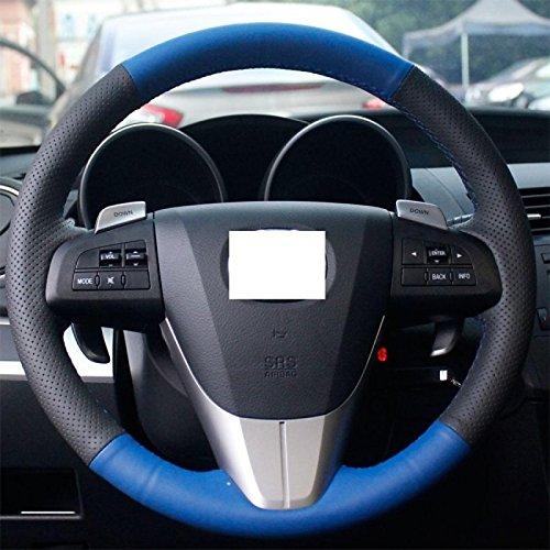 DXEWSE Schwarz Blau echtes Leder-Lenkrad-Abdeckung für Mazda 3 2011-2013 Mazda 5 Mazda 6 Mazda CX7