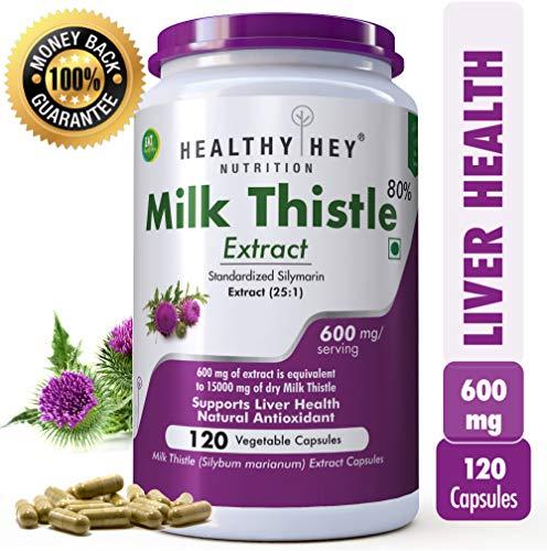 HealthyHey Milk Thistle Extract 600 mg, 120 Vegetable Capsules - 10:1 (Silymarin Marianum) - Milk Thistle Supplement