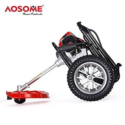 AOSOME ASWBC520 2 Stroke 52cc Petrol Wheeled Grass Trimmer,Garden brush cutter, 1.4kw