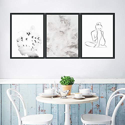 Einfache Europäische Und Amerikanische Figuren 3 Teilig Leinwandbilder Bild Auf Leinwand Vlies Wandbild Kunstdruck Wanddeko Wand Wohnzimmer Wanddekoration Deko,30 * 40CM - Tage Iii-leinwand