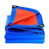 QINAIDI Verdicken Sie Regendichte Sonnenschutz-LKW-Plane, Blaue und Orange Wasserdichte Plane Im Freien, Wasserdichtes Material, Regenplane, LKW Pet-Plane,5M*6M