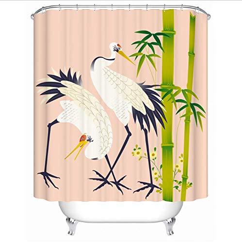 HHYSPA Die traditionelle chinesische landschaftsmalerei mit bergfluss pavillon Bambus Boot Fisch weißer kran wasserdicht duschvorhang mit 12 Haken 71X71 Inch -