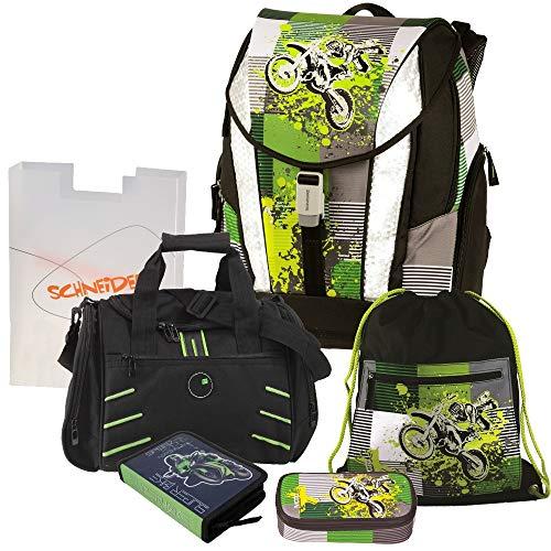 Moto X - Motocross Cross Motorrad Crossrider Motobike Mc Schulranzen Set 6tlg. TOOLBAG Soft Schneiders mit Sporttasche mit NASSFACH und FEDERMAPPE gefüllt