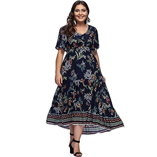 FeelinGirl Kleider Damen Blumen Kleid Elegant Langarm Maxikleid -