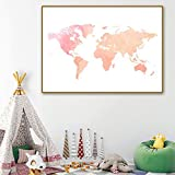 FA LEMON Abstract World Map Canvas Painting Wall Art Poster Nordic Home Decor Baby Girl Room-60x80cmx1 Pezzi Senza Cornice