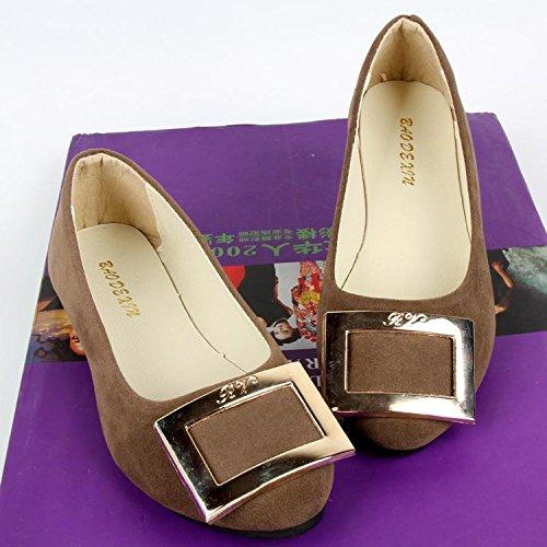 LvYuan Scarpe da donna / pelle scamosciata / ufficio & carriera / tacco piatto / comodità casual / moda casual / mocassini & scarpe da ginnastica / scarpe pigro camminate Brown