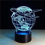 Regalo para los niños Flying Earth Globe World 3D Plane Lámpara Led Escultura Luces en colores 3D Lámpara de ilusión óptica con botón táctil