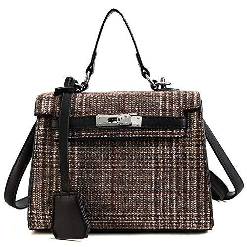 TYUJYT Umhängetasche Winter Frauen Umhängetasche Handtasche Berühmte Frauen Plaid Gitter Designer Crossbody Taschen (Kostüm Designer Berühmt)