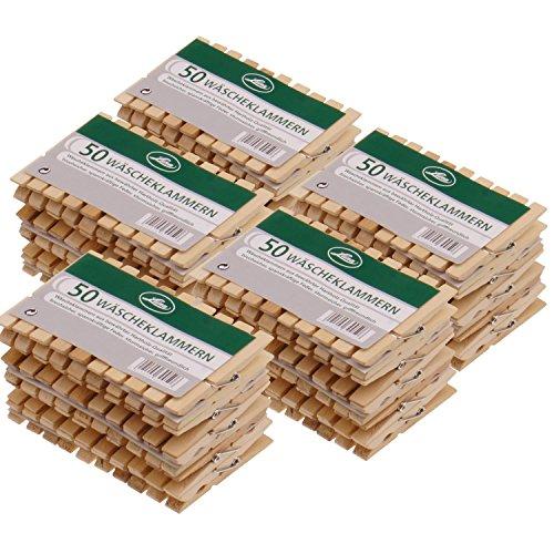 Wäscheklammern aus Holz in Sparsets sehr starke Holzklammern 73x10x12mm bewährte Hartholz-Qualität, Menge:250 Stück