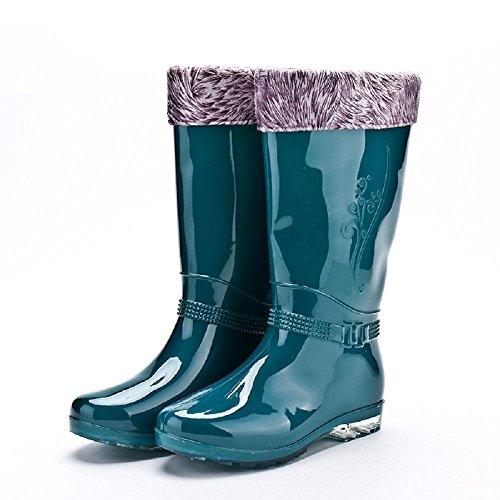 Mlle L'automne et l'hiver mode bottes de pluie Green