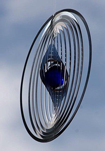 A2003 - steel4you hochwertiges 3D Windspiel aus Edelstahl mit Glasperle - Kreis 15cm x 15cm - made in Germany - 4