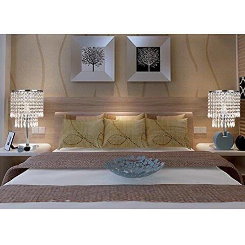 Tischleuchte, T-MIX luxuriöse Kristall-Lampenschirm Edelstahl Fassungen stilvolle Schönheit in den Schlafzimmer Wohnzimmer platziert - 4