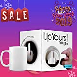 SHENNOSI Up Yours Funny Mug with Hidden Middle Finger Ceramic Coffee Milk Mug Tea Cup by SHENNOSI®