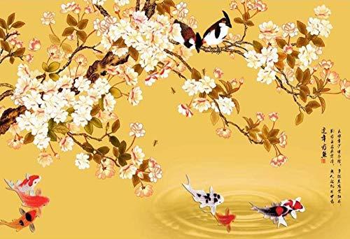 Carta da parati 3d rami di albero gialli moderni cinesi del pesce dell'uccello e del fiore murales da parete decorazione murale