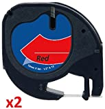 2 x Schriftband kompatibel für Dymo LetraTag 91203/S0721630 (12mm x 4m) schwarz auf rot, Kunststoff
