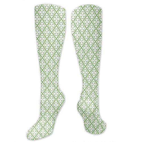Gped Kniestrümpfe,Socken St. Patrick's Day Four-Leaf Clover Funny Athletic Socks Best Knee High Socks For Women And Men Running Travel Length 50CM (Four Leaf Clover Kostüm)