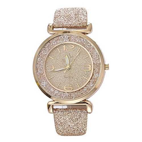 - 51O JFz3LSL - Womens Crystal Quartz Watches,Ulanda-EU Numeral Analog Clearance Lady Wrist Watch Female watches on Sale Watches for Women,Round Dial Case Shiny PU Leather Wristwatch ws63 (Gold)
