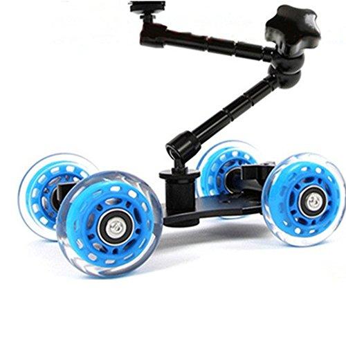 SUKILIU Mini Tabletop Mobile Rolling Slider Dolly Auto mit 7 Zoll Arm Unterstützung Skater Video Track Schiene Für Speedlite DSLR Kamera Camcorder Rig Blau - Mobile Arm-unterstützung