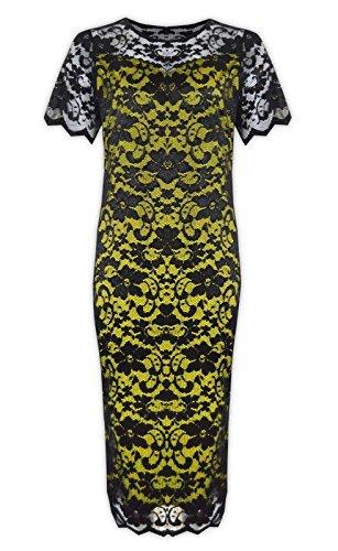 Stretch à manches courtes pour femme Motif dentelle florale ligne Plus Robe Midi Bodycon - BLACK MINT