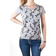 Onitsuka Tiger - Camiseta - Capucha - Manga corta - para mujer Gris gris Talla:large