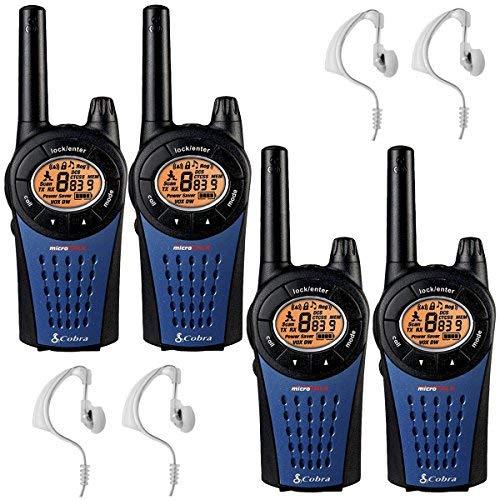 12 km Cobra MT975 PMR Walkie Talkie Two Way Radio 2 Quad Pack + 4 x Fallstudien CM-15PT Headset -