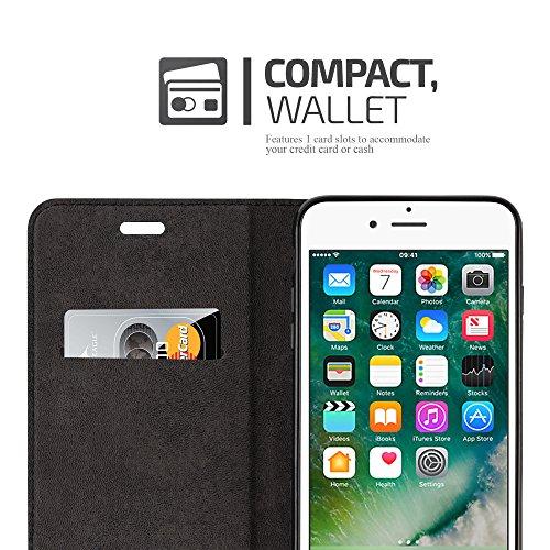"""Apple iPhone 8 / 7 / 7S """" PLUS """" Hülle in NACHT-SCHWARZ von Cadorabo - Handy-Hülle mit unsichtbarem Magnet-Verschluss Standfunktion und Karten-Fach Case Cover Schutz-hülle Tasche Book Klapp Style CAPPUCCINO-BRAUN"""