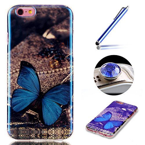 Etche Caoutchouc Retour Case Etui pour iPhone 6/6S 4.7 pouces,Silicone Souple Case Cas Coque de Protection TPU pour iPhone 6/6S 4.7 pouces,Laser Cut Reflect Bleu Light Soft Gel TPU Case pour iPhone 6/ papillon bleu