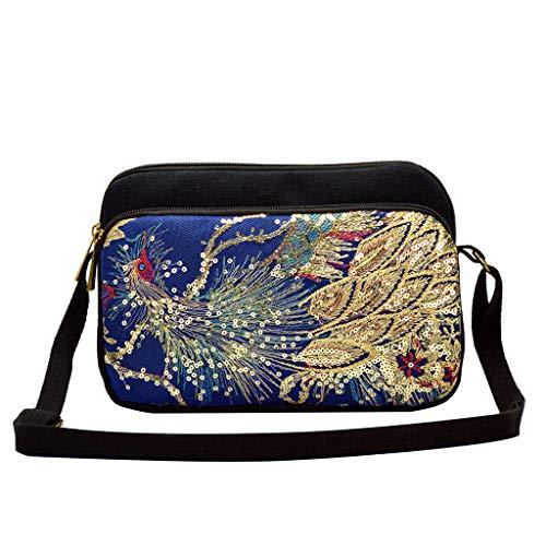 Mitlfuny handbemalte Ledertasche, Schultertasche, Geschenk, Handgefertigte Tasche,Frauen pailletten ethnischen wind leinwand stickerei tragbare diagonale paket -