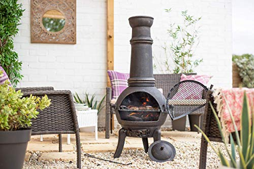La Hacienda Extra Large Sierra 100% Cast Iron Chiminea With BBQ Grill