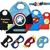 Costumi da Supereroi per Bambini - Regali di Compleanno - Costumi di Carnevale - 4 Mantelli E Maschere - Logo di Captain America Visibile al Buio - Giocattoli per Bambini E Bambine
