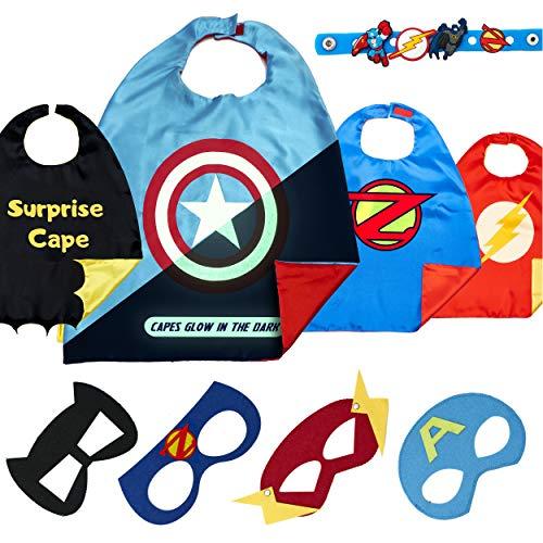 Dropplex Superhelden Kostüm Für Kinder - Kleinkind Superhelden Party Outfit - Spielzeug Für Jungen Und Mädchen - 4 Capes Und Maske - Im Dunkeln Leuchtendes Captain America Logo (Superhelden-outfits Für Jungen)
