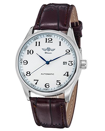 Gute Classic Winner - Reloj mecánico, Esfera Blanca, manecillas Azules,...