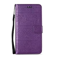 iPhone 7 Plus Case [with Free USB Charging Cable], ESSTORE-EU Retro Elephant Embossing PU Leather Protective Covers with Card Slot Holder Wallet Case for Apple iPhone 7 Plus 5.5 Inch, Purple