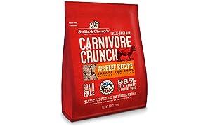 Stella & Chewy's Freeze-Dry Carnívore Crunch Crass-Alimentado con Hierba Receta de Carne de Res sin Granos, Bolsa de 3.5 onzas