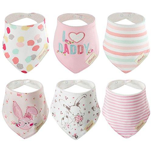 6 Baby Sabber Lätzchen 100% Baumwolle Dreieckstuch saugfähig weich Halstücher von Discoball