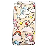 CAOLATOR Cartoon de Licorne Rainbow Doux Silicone Transparent Cas de téléphone et couvercle iphone5/5s/6/6s/7/7plus/8/plus- (iPhone7Plus/8Plus)