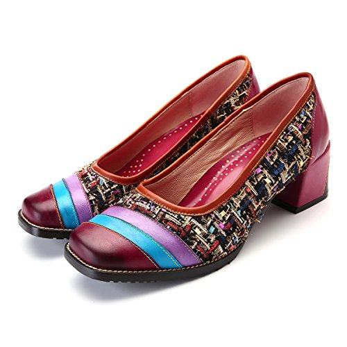 gracosy Women's Leather Flat Shoes Comfortable Loafer Pumps Handmade Mary Jane Moccasin Shoes Leather Slipper Slip on Walking Shoes Women's Party Shoes Vintage Flats Block Heel