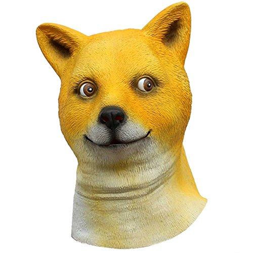 Hund Maske Latex Full Head Fancy Party Eckzahn Tier Masken,Yellow-L