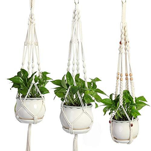 Komost Pflanzenaufhänger, 3-Pack handgefertigt Baumwolle geknotete Macrame hängenden Pflanzerkorb, Blumentopf Aufhänger für Wanddekoration, Hof Garten