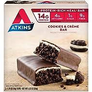 Atkins Advantage MEAL, Cookies n' Creme Bar, 5 Bars, 1.8 oz (50 g) Each